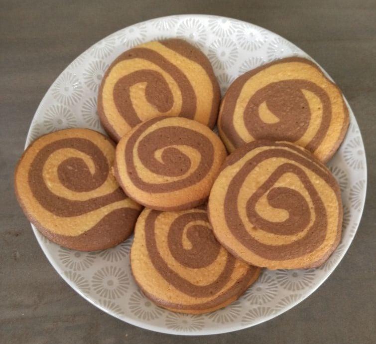 Biscuits marbrés en spirale