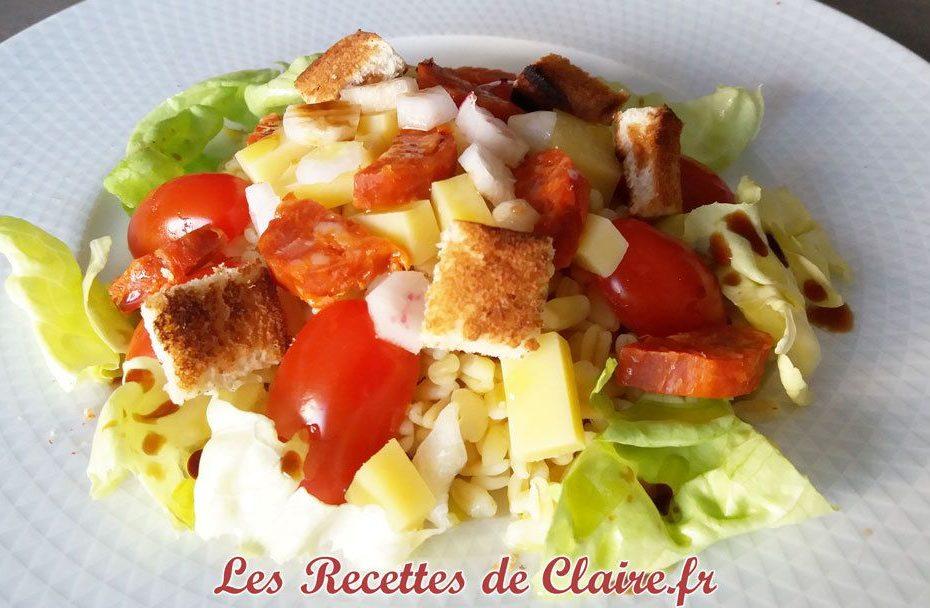 Salade composée méli-mélo blé chorizo crudités